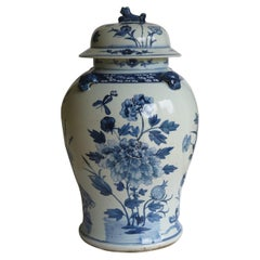 Chinese Export Porcelain large Temple Vase & Lid Blue & White Hand Painted 19thC