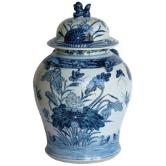 Chinese Export Porcelain Temple Vase and Lid Blue and White Hand Painted, 19th C