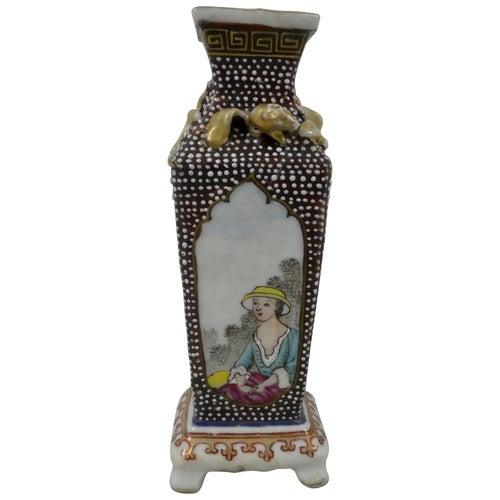 Chinese Export Porcelain Vase, European Figures, circa 1750, Qianlong Period