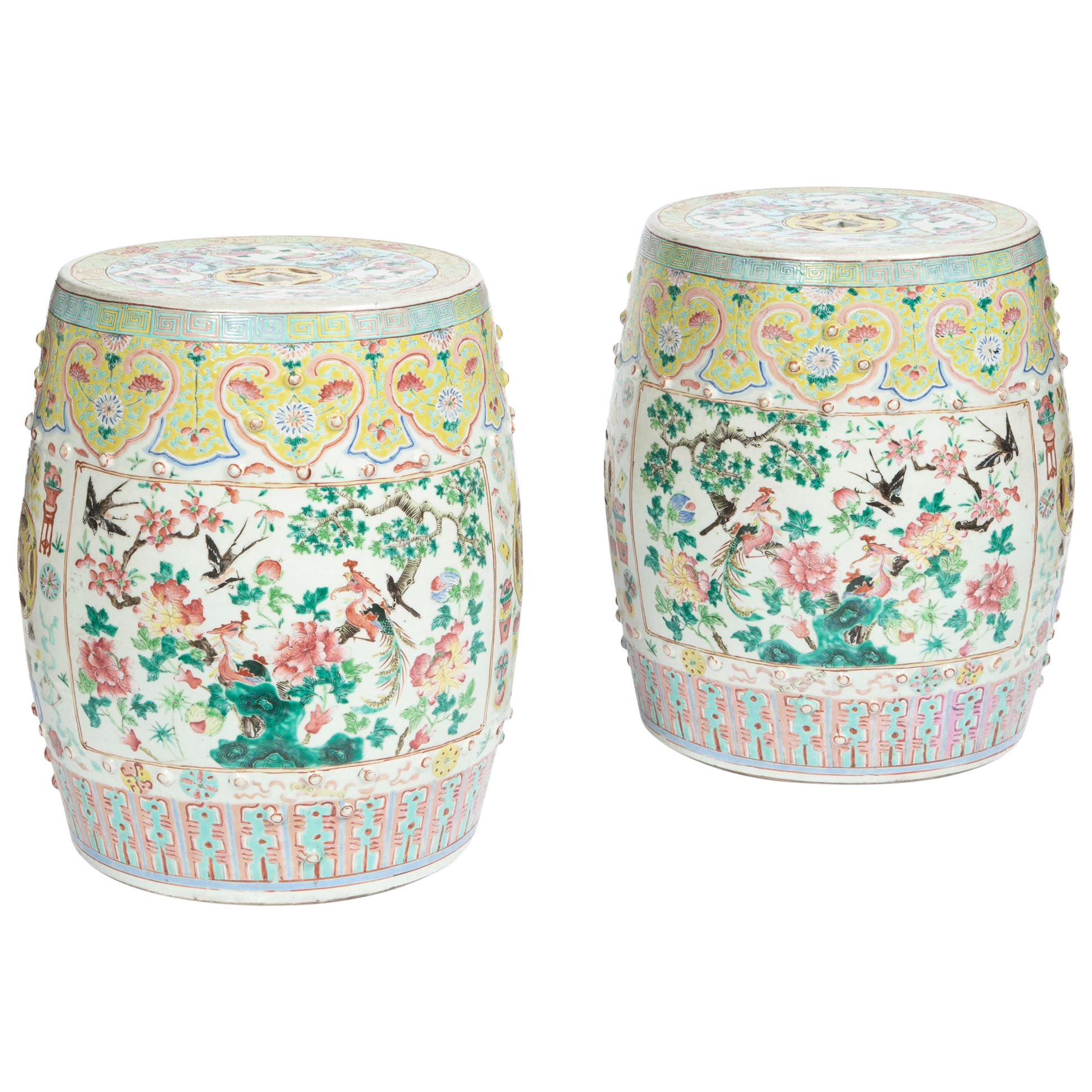 Chinese Export Porcelain Yellow Garden Seats, Mid-19th Century