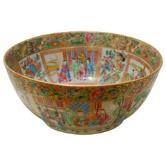 Chinese Export Rose Mandarin Punch Bowl, circa 1840