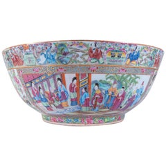 Chinese Export Rose Medallion Canton Porcelain Punch Bowl w/ Multiple Cartooges