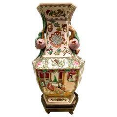 Chinese Export Rose Medallion Porcelain Urn Lamp