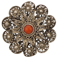 Chinese Export Round Silver Filigree Cannetille and Coral Brooch circa 1930s