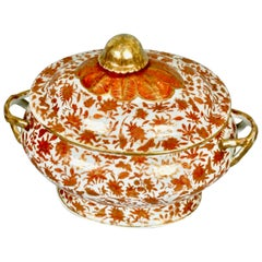 Chinese Export Sacred Bird and Butterfly Pattern Porcelain Covered Soup Tureen