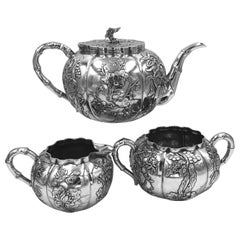 Chinese Export Silver 3-Piece Teaset