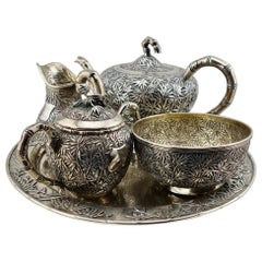 Chinese Export Silver Bamboo Pattern Tea Service, circa 1880s