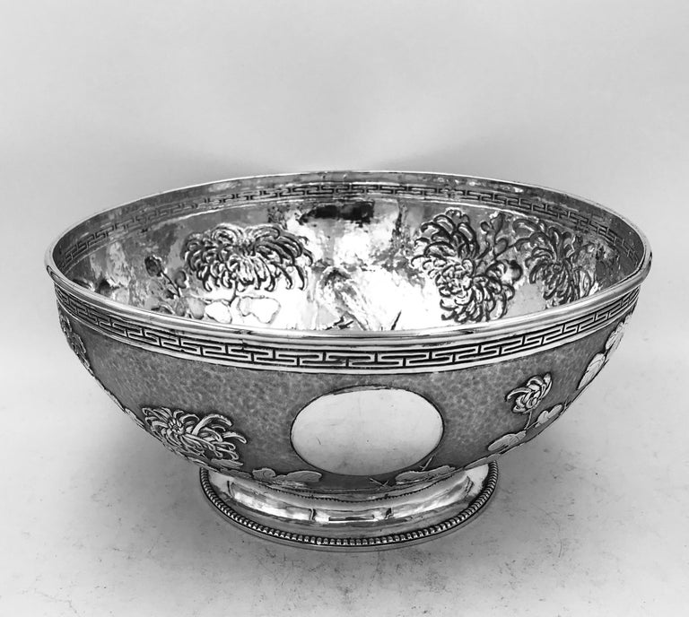 Repoussé Chinese Export Silver Bowl For Sale
