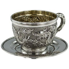 Chinese Export Silver Cased Cup and Saucer Tuck Chang, circa 1890