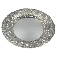 Chinese Export Silver Centerpiece Bowl with Dragon Motif by Nanking