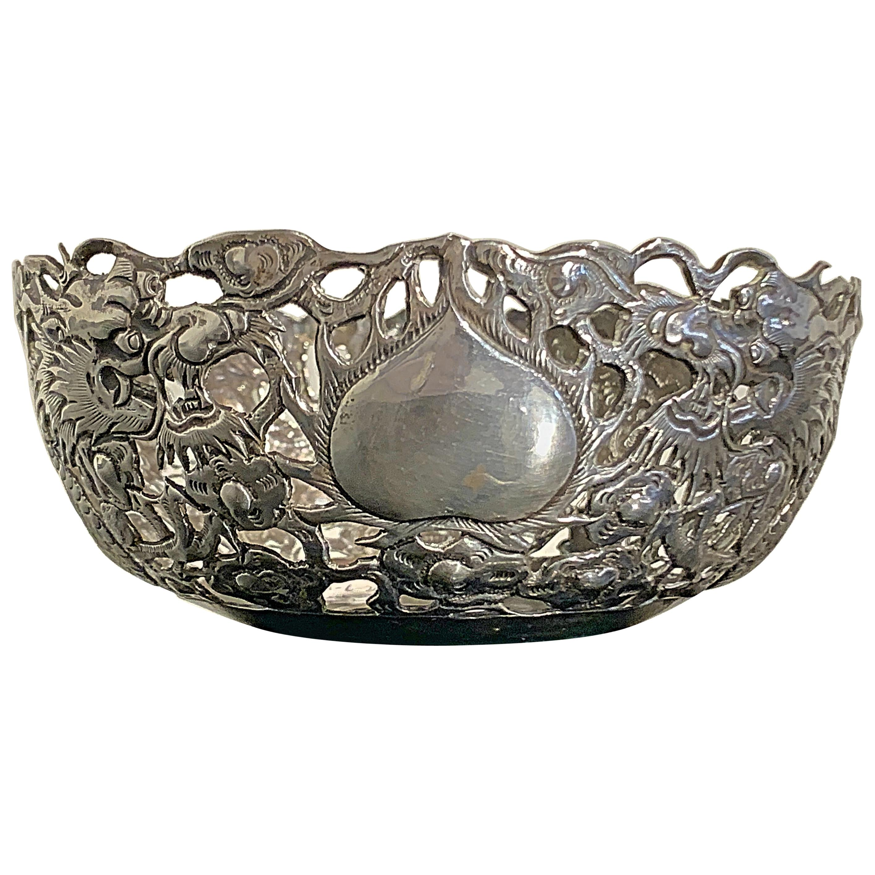 Chinese Export Silver Dragon Bowl, Marked KK, Early 20th Century, China