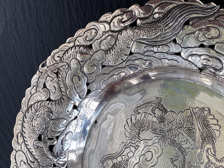 Chinese Export Silver Dragon Serving Tray For Sale 6
