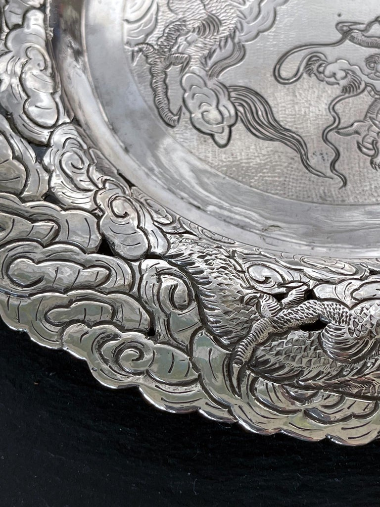 Chinese Export Silver Dragon Serving Tray For Sale 7