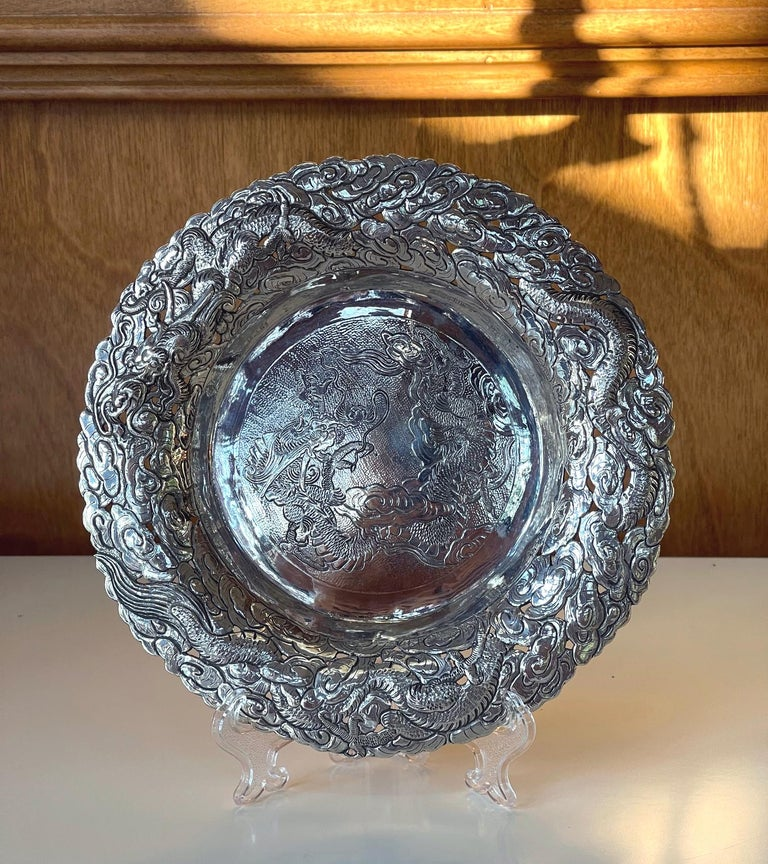 Chinese Export Silver Dragon Serving Tray For Sale 9