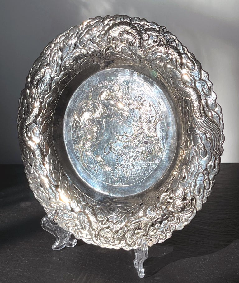 Chinese Export Silver Dragon Serving Tray For Sale 1