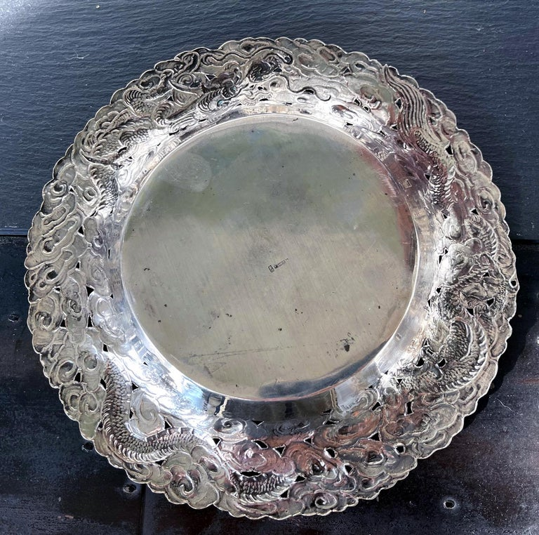 Chinese Export Silver Dragon Serving Tray For Sale 2