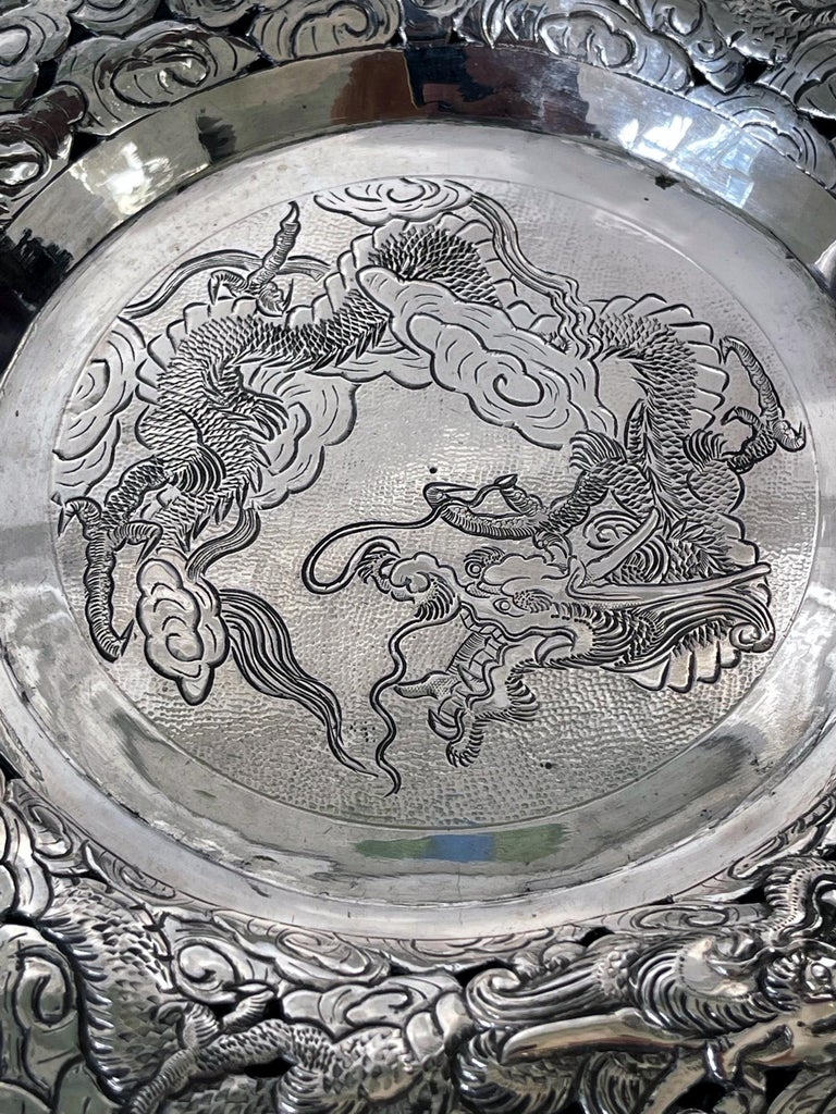 Chinese Export Silver Dragon Serving Tray For Sale 3