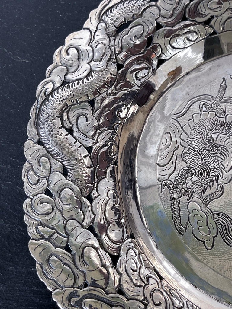 Chinese Export Silver Dragon Serving Tray For Sale 4