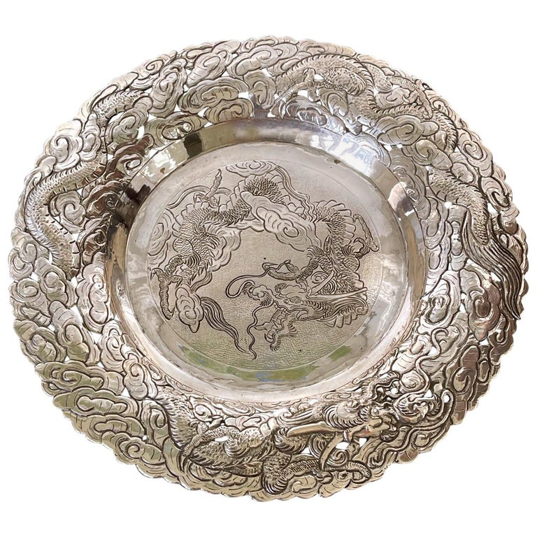 Chinese Export Silver Dragon Serving Tray For Sale