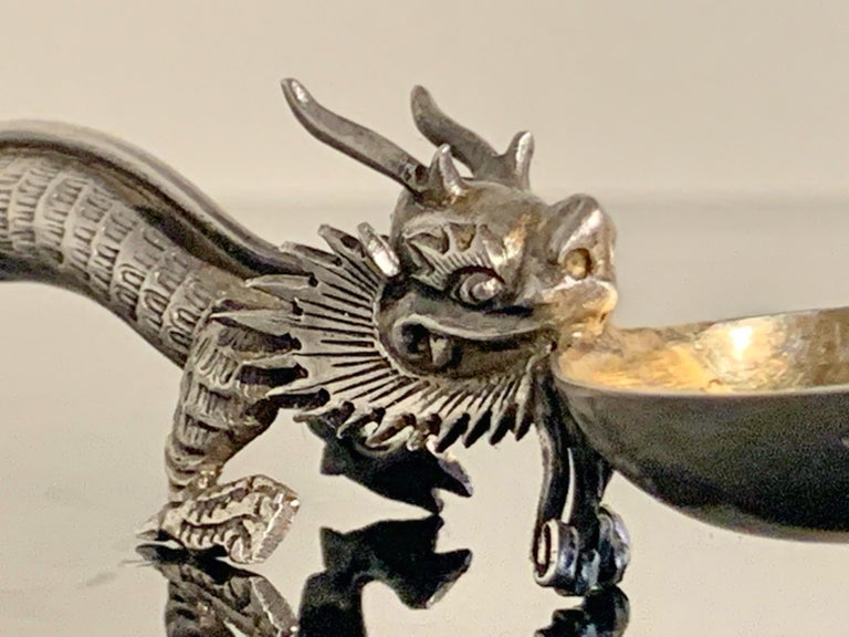 Chinese Export Silver Dragon Spoon by Wang Hing & Co., Late 19th Century For Sale 6