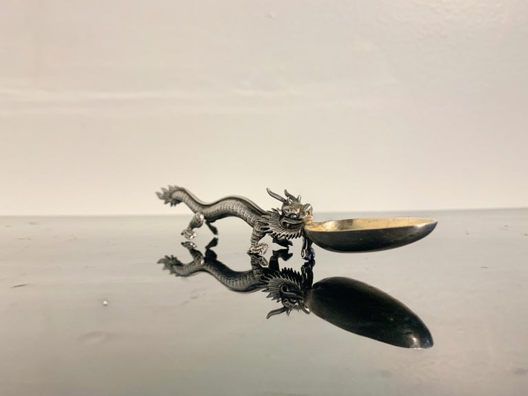 Chinese Export Silver Dragon Spoon by Wang Hing & Co., Late 19th Century In Good Condition For Sale In Austin, TX