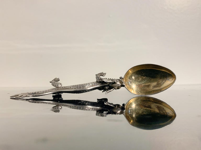 Chinese Export Silver Dragon Spoon by Wang Hing & Co., Late 19th Century For Sale 1
