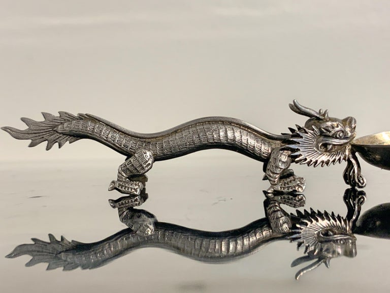 Chinese Export Silver Dragon Spoon by Wang Hing & Co., Late 19th Century For Sale 4