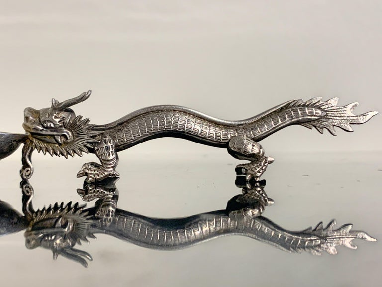 Chinese Export Silver Dragon Spoon by Wang Hing & Co., Late 19th Century For Sale 5