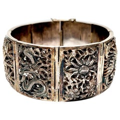 Chinese Export Silver Four Seasons Panel Link Bracelet