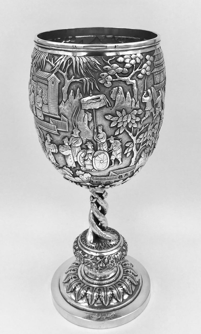 Chinese Export Silver Goblet In Good Condition For Sale In London, GB