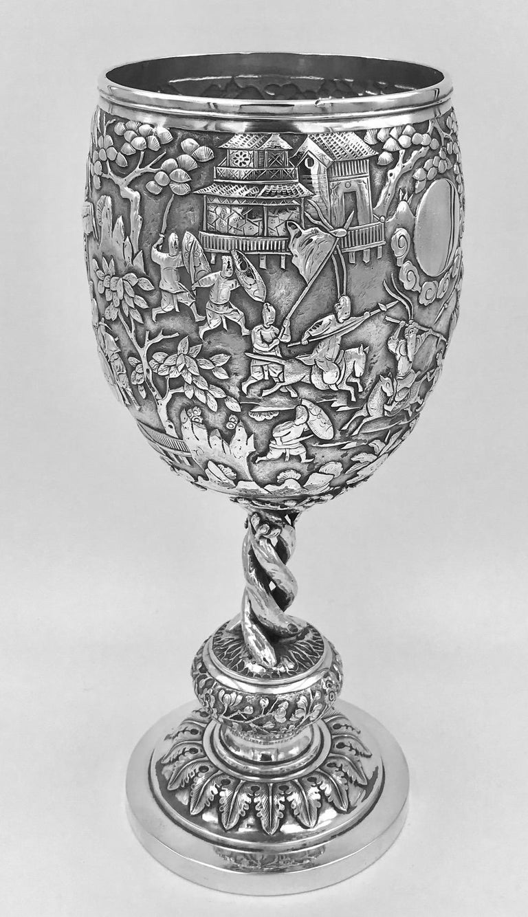 Late 19th Century Chinese Export Silver Goblet For Sale