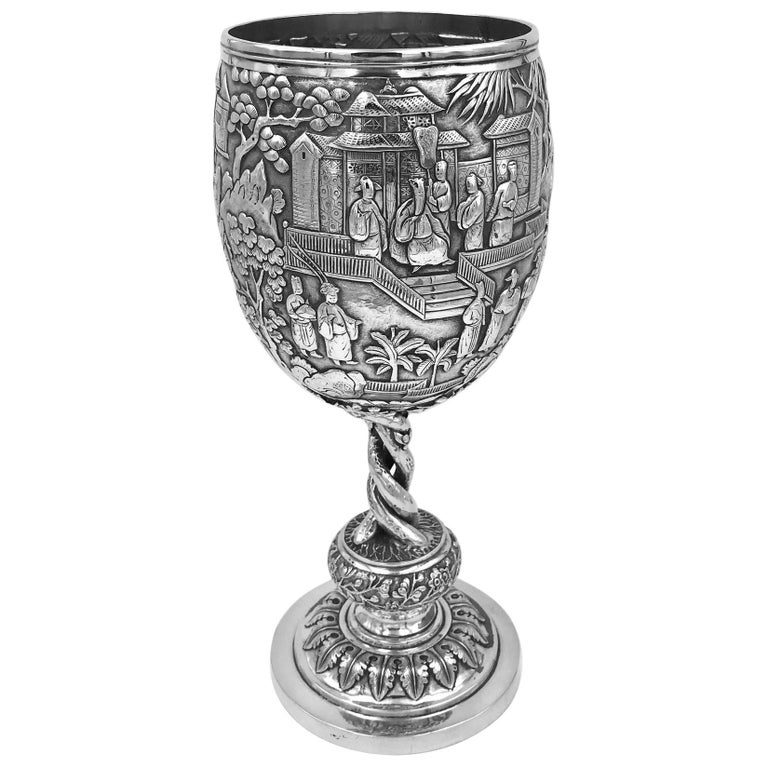 Chinese Export Silver Goblet For Sale