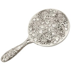Chinese Export Silver Hand Mirror, Antique, circa 1900