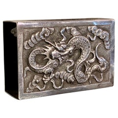 Chinese Export Silver Matchbox Cover by Hone Wo, Early 20th Century