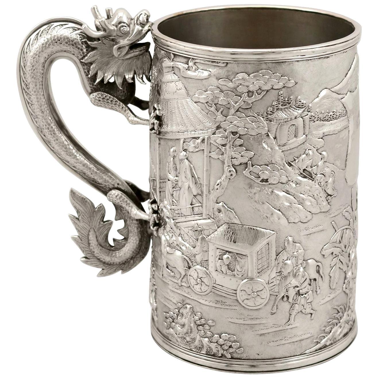 Chinese Export Silver Mug Antique Circa 1900