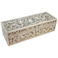 Chinese Export Silver Openwork and Repousse Box by Hung Chong, circa 1880