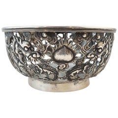 Chinese Export Silver Openwork Bowl by Wan Hing & Co, Hong Kong, 1890