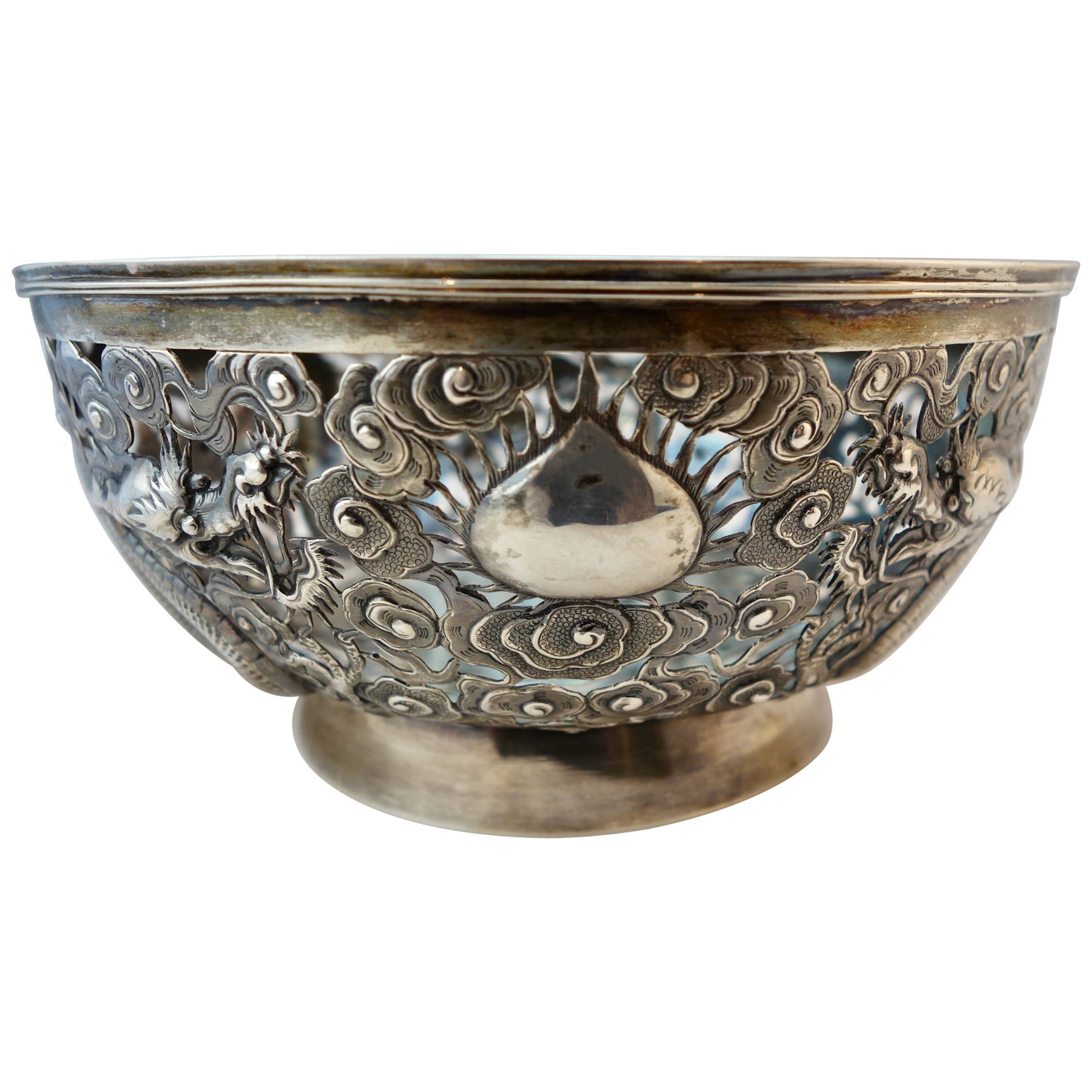 Chinese Export Silver Openwork Dragon Bowl by Wang Hing & Co, Hong Kong, 1890