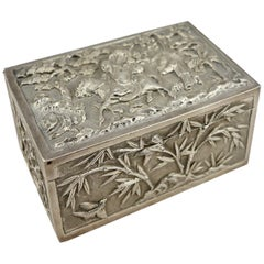 Chinese Export Silver Repousse Scenic Box by Wang Hing, circa 1870