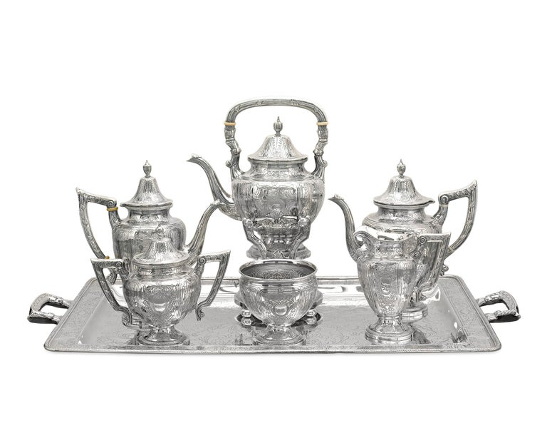 Sterling Silver Chinese Export Silver Tea and Coffee Service For Sale