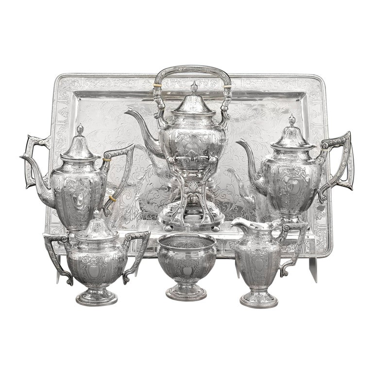 Chinese Export Silver Tea and Coffee Service For Sale