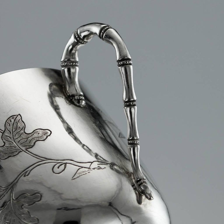 Chinese Export Silver Tea Cups, Yang Qing He, circa 1880 For Sale 7