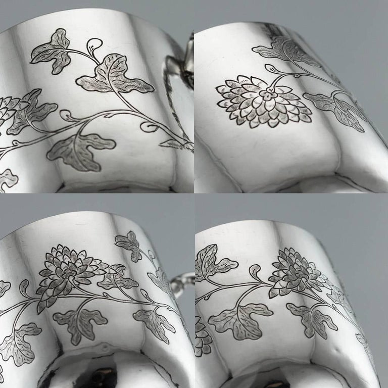 Chinese Export Silver Tea Cups, Yang Qing He, circa 1880 For Sale 8