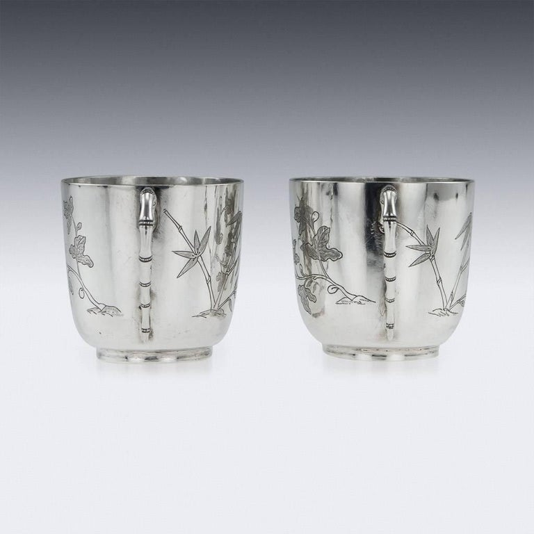 Chinese Export Silver Tea Cups, Yang Qing He, circa 1880 In Good Condition For Sale In London, London