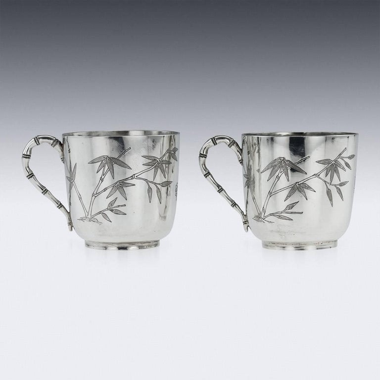 19th Century Chinese Export Silver Tea Cups, Yang Qing He, circa 1880 For Sale