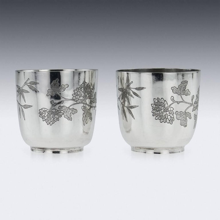 Chinese Export Silver Tea Cups, Yang Qing He, circa 1880 For Sale 1