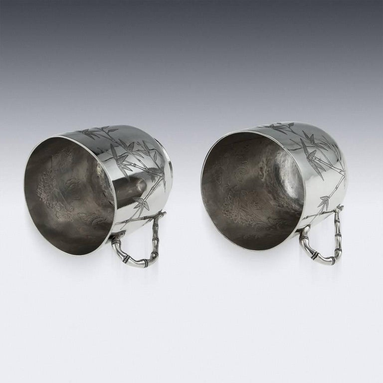Chinese Export Silver Tea Cups, Yang Qing He, circa 1880 For Sale 3