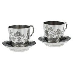 Chinese Export Silver Tea Cups, Yang Qing He, circa 1880