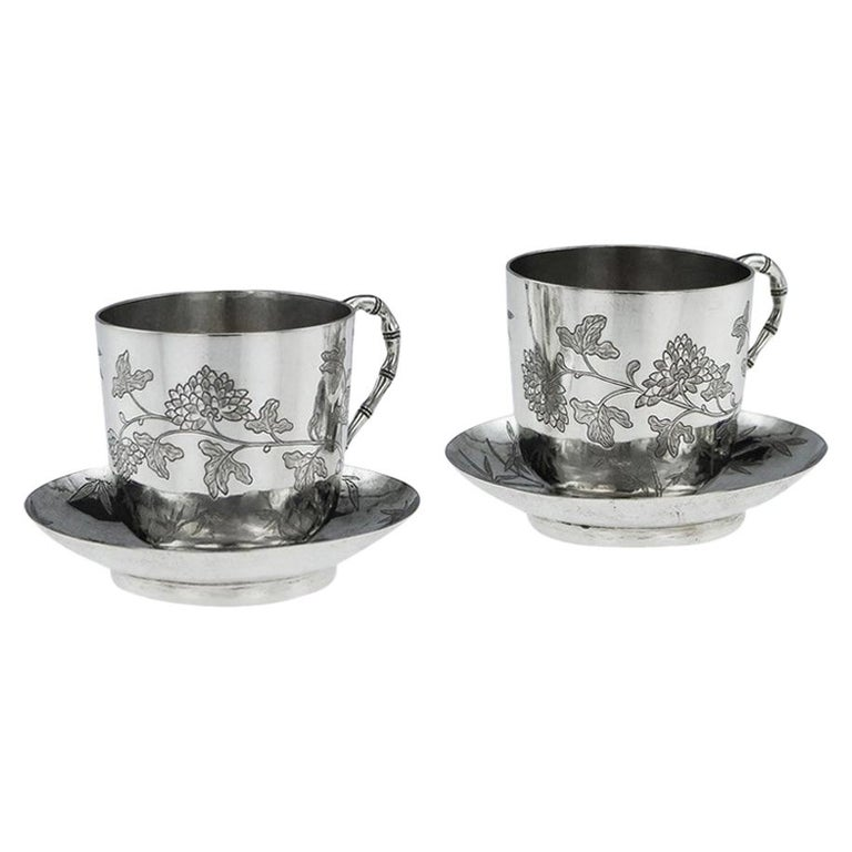 Chinese Export Silver Tea Cups, Yang Qing He, circa 1880 For Sale