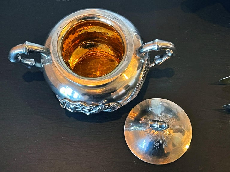 Chinese Export Silver Tea Set with Original Box Zee Wo For Sale 7